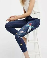 24 Ankle Floral Bird Embroidered Jeans Sundance FREE PEOPLE Hippy Boho