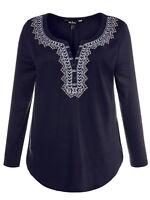 Ulla Popken ladies blouse top plus size 16/18 blue embroidery sparkle festive