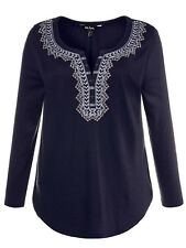 Ulla Popken ladies blouse top plus size 16/18 28/30 36/38 blue embroiderysparkle