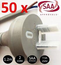 50 x PREMIUM 2 Core 2 Pin 7.5A Flex Plug and Lead Cable 250V 1.2M Grey 240V 10A