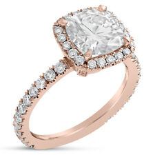 Engagement Ring C11M Forever Brilliant 2ct Rose Gold Moissanite and Diamond