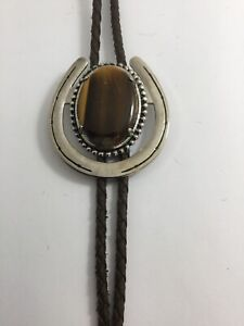 Mens BOLO TIE Horseshoe Design With Tigers Eye Stone Goltone Tip