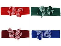 Kids Children Gingham Bow Red Blue Green Navy Burgundy Headband Headwrap School