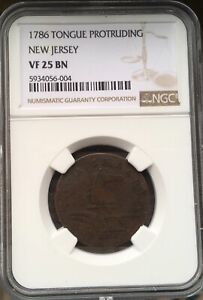 1786 NEW JERSEY COLONIAL NGC VF 25 BN ***Free*** s/ h