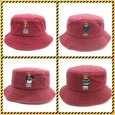 Teddy Bear Bucket Hat Burgundy Embroidery Basketball Soccer Vintage Leisure Cap