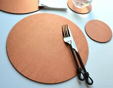 Set of 8 ARTISAN COPPER Bonded Leather ROUND PLACEMATS & 8 COASTERS Made In UK