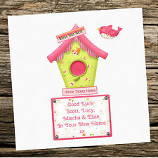 Handmade New Home Personalised Card Bird House