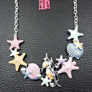Women's Enamel Pearl Starfish Shell Pendant Betsey Johnson Necklace Gift