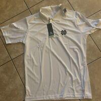 NWT Antigua Golf L Notre Dame Golf Shirt White Football SS