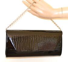 BOLSA NEGRA CLUTCH bag mujer pochette elegante cadena plata black handbag G54