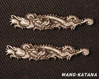 Silver Plated Brass Menuki Dragon Ornament for Katana Wakizashi Tanto Swords