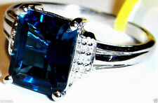 LONDON BLUE TOPAZ OCTAGON SOLITAIRE & DIAMOND RING, SILVER, SIZE 9, 3.77(TCW)