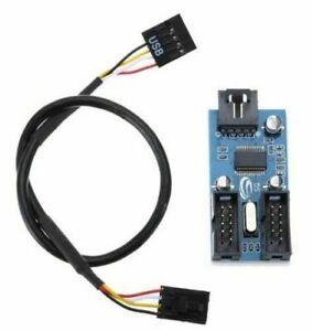 9 Pin Header 1 to 2 Splitter Port Motherboard USB Multiplier Extension Cable UK