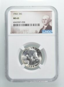 1964 MS65 Washington Quarter Silver NGC Graded - Choice Unc *385