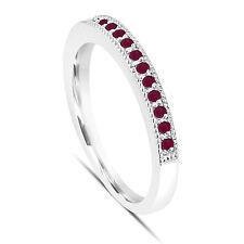 Platinum Ruby Wedding Band Half Eternity Anniversary Ring Handmade Stackable