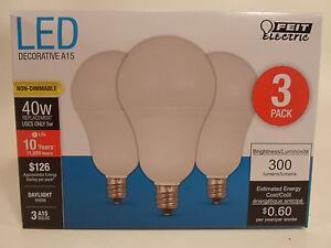 3 Pack LED CANDELABRA base small DAYLIGHT Feit 40W Equivalent 5W Light Bulb watt