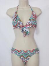 NWT Jessica Simpson Halter Style Bikini Multi Color Floral Print Size Small