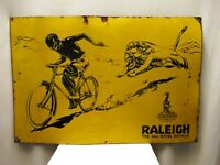 """Raleigh The All Steel Bicycle Vintage Porcelain Enamel Sign Board Collectibles """""""