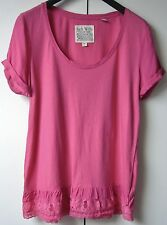 Pretty Ladies 'Jack Wills' Short Sleeve Top With Lace Hem - Pink - Size 8