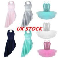 UK Girls Ballet Dress Gymnastic Dance Leotard Kids Sequined Tutu Skirt Dancewear