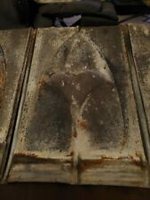 """4 VINTAGE ANTIQUE ROOFING TIN SHINGLE ~ SHIELD EMBOSSED 13-3/4"""" X 9-1/2"""""""
