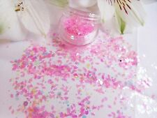 Nail Art Chunky Candy *FloSS* Pink Diamond White Hexagon Glitter Spangle Mix Pot