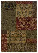 "10'x13' Sphinx Floral Green Vines Blocks 058B1 Area Rug - Aprx 9' 10"" x 12' 9"""
