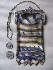 Antique Art Nouveau Deco Blue Cream Pink Enamel Chain Mail Mesh Small Purse W&D