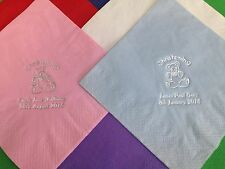 50 x PERSONALISED CHRISTENING NAPKINS / SERVIETTES QUALITY 3PLY 40CM