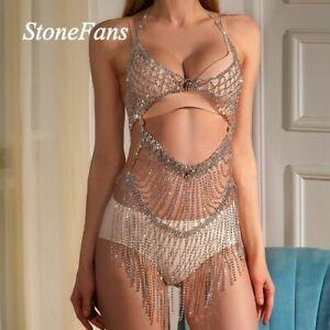 Luxury Full Rhinestones Bodysuit Tassel Crystal Shining Sexy Jewelry for Women