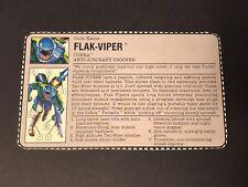 HASBRO GI JOE COBRA FLAK-VIPER ANTI-AIRCRAFT TROOPER TAN BIO COMMAND FILE CARD