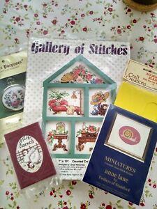 Cross Stitch Kits x4 Bundle / Job Lot. Bucilla, Twilleys. Flowers, snail, house