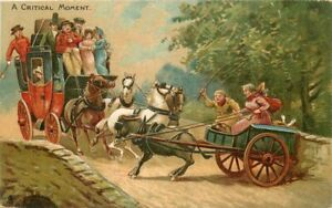 Accident Critical moment artist C-1910 Tuck Stagecoach UK Postcard 21-2361