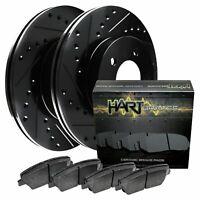 [FRONT KIT] Black Hart *DRILLED & SLOTTED* Disc Brake Rotors +Ceramic Pads F1711