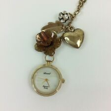 """Lucoral Pendant Watch Necklace Gold Tone MOP Long 31"""" Chain New Battery Charm"""