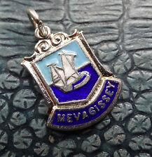 vintage SILVER blue enamel Mevagissey English town yacht charm for bracelet D336