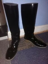 Pierre Hardy Real Patent Leather Pull On Knee Boots