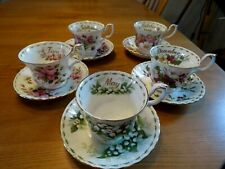 More details for royal albert 5 flower of the month series cups and saucers free postage