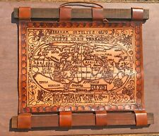 Custom Hand Made Leather Map By A Brazilian Artist Olde World Style Map Decor