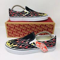 *NEW* Vans Authentic Classic Slip-On Flames Men Women Skate Shoes Black #1404