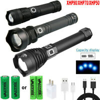 90000LM XHP90 XHP70 XHP50 LED Zoomable Torch Micro USB 26650 Battery Flashlight