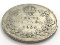 1929 Canada 10 Ten Cent Silver Dime Canadian Circulated George V Coin L537