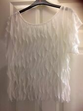 """Atmosphere,white top size 14,approx 34""""called waterfall pattern, low round neck"""