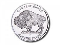 10 - 1/10 oz. 999 Fine Silver Rounds -  Buffalo/Indian Design - BU - Monarch