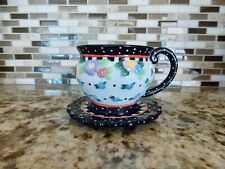 """Mary Engelbreit """"Oh So Breit""""~ Cherries Cup & Saucer~ 2000 Me Ink ~ New"""
