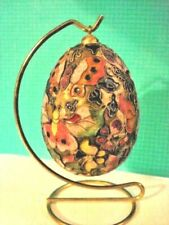 Vintage Cloisonne Enamel Brass Decorated Egg Butteries W/ Hanging Stand