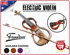 Violin 4/4 Electric Full Size Natural Wooden Set Bow Rosin Strings Case EV31