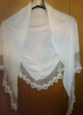 Schal Tuch Weiß Strick Spitze
