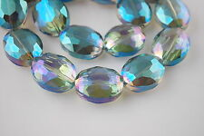 10pcs Green Colorized Glass Faceted Flat Oval Loose Beads 20x16mm DIY Findings