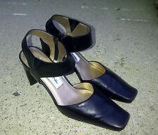 BELLINI Womens Size 7M Black Heels Square Toe Zip Up Ankle Strap Heels Roxie